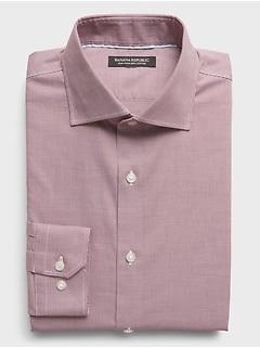 Chemise habillée à col découpé, coupe cintrée, sans repassage