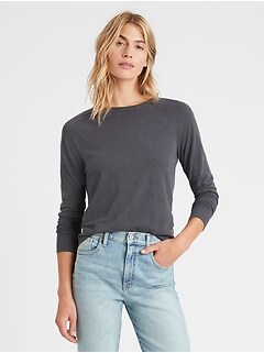 Slub Cotton-Modal Raglan T-Shirt