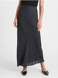 Stripe Bias-Cut Maxi Skirt