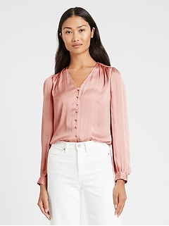 Soft Satin V-Neck Blouse