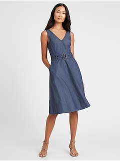Denim V-Neck Dress