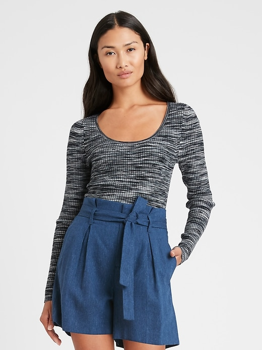 Space-Dye Scoop-Neck Sweater Top