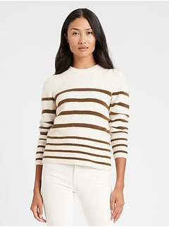 Stripe Puff-Sleeve Sweater