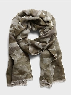 Wool-Cotton Camo Scarf