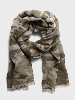 Écharpe en laine-coton à imprimé camouflage