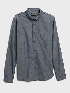 Untucked Standard-Fit Chambray Shirt