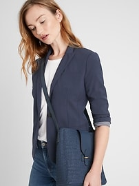 Petite Classic-Fit Washable Italian Wool-Blend Blazer
