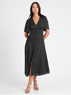 Satin Flutter-Sleeve Midi Dress