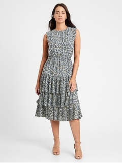 Petite Pleated Midi Dress