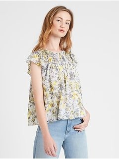 Petite Floral Smocked Blouse