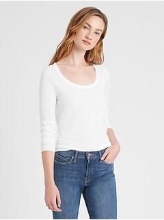 Petite Slub Cotton-Modal Scoop-Neck T-Shirt
