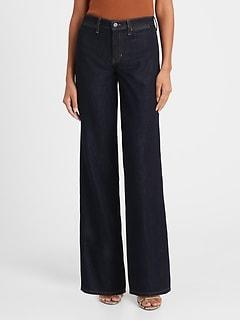 High-Rise Wide-Leg Zipper Pocket Jean