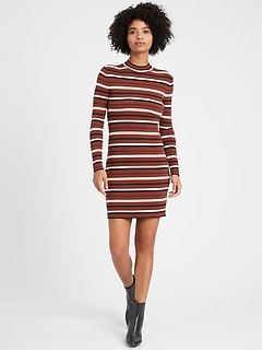 Petite Stretch-Cotton Turtleneck Sweater Dress