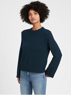 Petite Cotton-Blend Bell-Sleeve Sweater