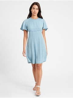 Petite Flutter-Sleeve Mini Dress