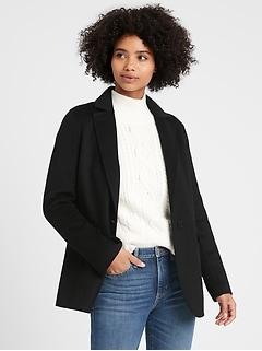 Manteau blazer non doublé à revers double