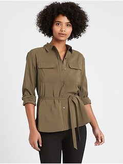 Petite Belted Utility High-Low Shirt