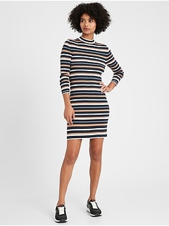 Stretch-Cotton Turtleneck Sweater Dress
