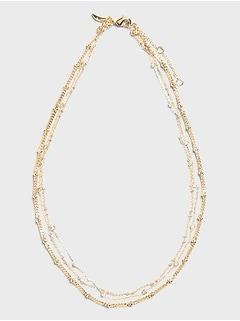 Collier triple à chaîne et perles