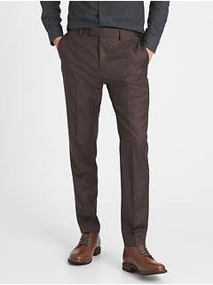 Slim-Tapered Italian Sharkskin Suit Pant