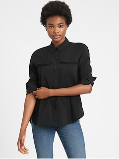 Belted Utility High-Low Shirt