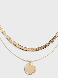 Double Layer Pavé Coin Necklace