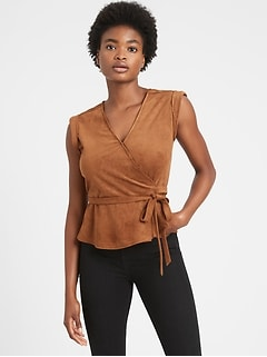 Vegan Suede Wrap Top
