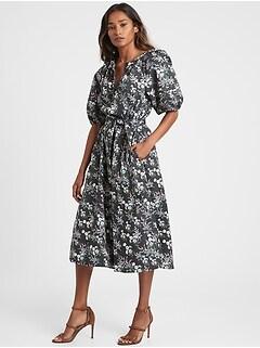 Petite Poplin Midi Dress