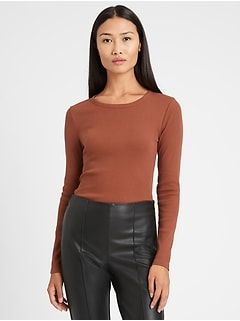 Petite Fitted Ribbed Long-Sleeve T-Shirt