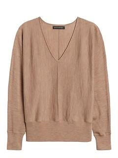 Petite Washable Merino Dolman-Sleeve Sweater