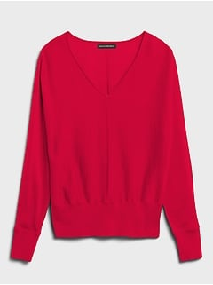Petite Washable Merino Dolman-Sleeve Sweater