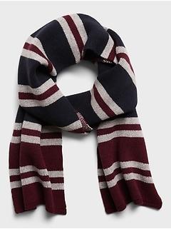 Birdseye Stripe Wool-Blend Scarf