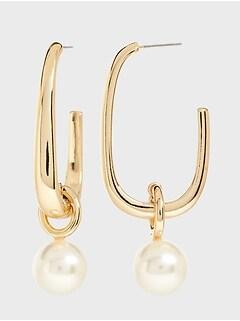 Pearl Drop Hoop Earrings