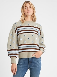 Petite Fair Isle Balloon-Sleeve Sweater