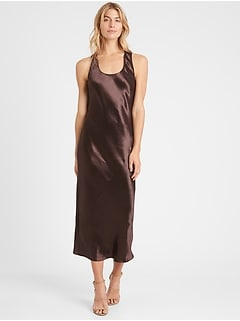 Petite Bias-Cut Satin Slip Dress