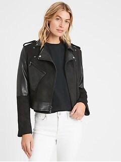 Vegan Suede Patchwork Moto Jacket