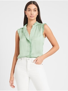 Petite Satin Pleated Shirt