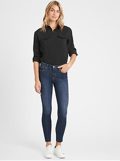 Petite Mid-Rise Skinny Ankle Jean with Raw Hem