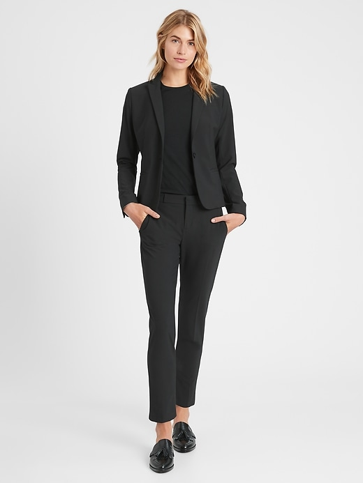 Petite Avery Straight-Fit Washable Wool-Blend Ankle Pant