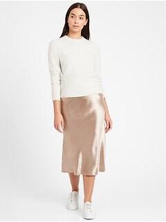 Petite Bias-Cut Midi Slip Skirt