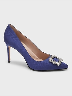 Madison 12-Hour Satin Pump with Crystal Buckle