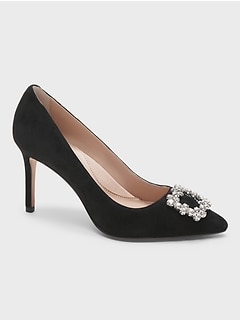 Madison 12-Hour Suede Pump with Crystal Buckle