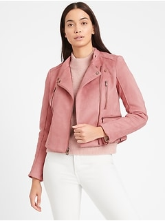Vegan Suede Quilted Biker Jacket