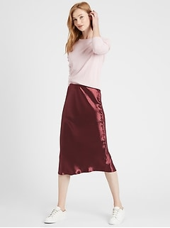 Bias-Cut Midi Slip Skirt