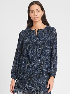 Petite Print Pleated Shirt
