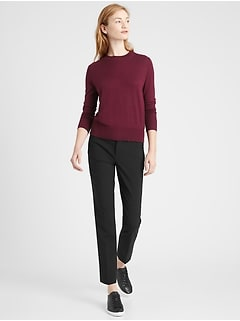 Petite Ryan Slim Straight-Fit Washable Italian Wool Pant