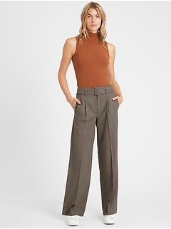 High-Rise Slim Wide-Leg Flannel Pant