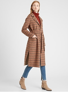 Petite Reversible Double-Faced Wrap Coat
