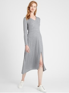 Petite Ribbed-Knit Midi Dress