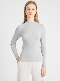 Metallic Mock-Neck Sweater